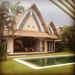 Our villa. LOVE the outdoor area between the two rooms.