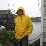 Hubby in much needed rain gear!