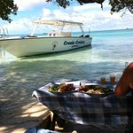 Crystal clear water, lobster lunch and romantic setting.