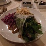 Spring Roll, Mesclun Mix and Cucumber wrapped w/ rice paper roll, udon, slaw w/ sesame soy vin
