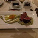 Black Sesame crusted Tuna over Edamame Quinoa puree w/ meyer lemon vin,citrus, wasabi tobiko