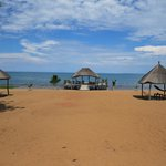 Beach palapas with hammocks