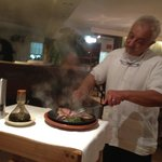 Cooking steak at the table