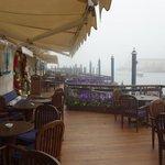 terrace of hotel in the December mist