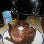 Surprise Birthday Cake with champaigne bottle