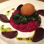 Beetroot risotto with kale and goats cheese..delicious