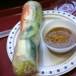 Veggie Rice Roll & peanut butter dip