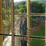 Glimpse of a lovely wedding couple from Barnsdale Lodge.