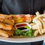 Entree - spring rolls and calamari