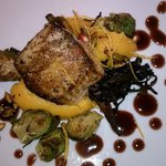 Black cod with squash and roasted brussel sprouts