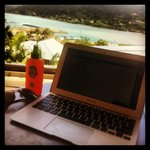 working from the cabana