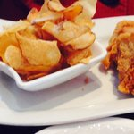 Broasted chicken with sweet baked beans and fresh potato chips