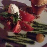 First course, Mozzerela with Tomato Selection-note the Brioche in the clay pot