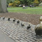 A set of bronze statues based on the main characters from the children's story Make Way for Duck