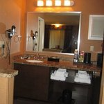 vanity/microwave/refrigerator area