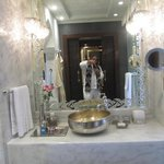 white marble hammam style bathrooms