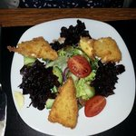 Deep fried Brie with red onion chutney