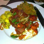Chilli Chicken Tikka with vegetable Jalfrezi and saag paneer - delicious