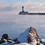 Lake Superior enters into Duluth/Superior Harbor