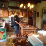 Trent making our gourmet dinner!