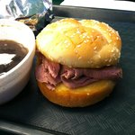 Wally's original roast beef sandwich with au jus