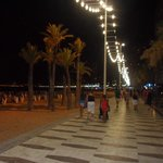 beach and promenade at night