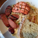 Fettuccine with andouille sausage and salmon
