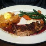 Flat-iron pork with excellent presentation