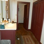 Our rooms bathroom (shower and toilet are through the door in a seperate room, large bathroom