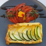 Courgette pastry with tomato side
