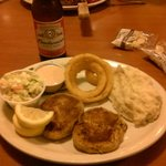 Crab Cake dinner and Bud..A great combination.  Meal was great!!