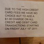 Credit Card Fee notice