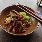 Beef noodles with chilli, jerky and beef floss
