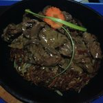 Steak in Mushroom Sauce over ROSTI