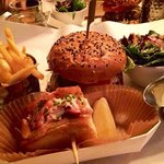 burger and half Lobster bun