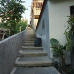 The staircase leading down to Widia's Homestay.
