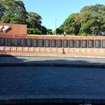 War memorial in park near hotel