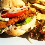 Flying Fish Sandwich with Breadfruit Chips