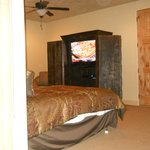 large TV, king and double bed