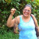 Johanna from the next door restaurant (Soda Johanna) with a fresh lobster for dinner.