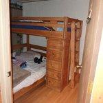 Tiny Bedroom, had one floor lamp behind the door (Bear Cove Escape)