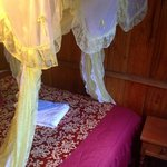 The bed with the mosquito net