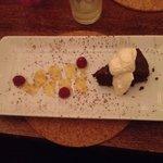 Xmas meal. Dessert. Chocolate tart