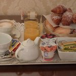 The continental breakfast served in-room