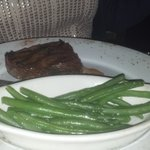 Steak and steamed green beans.
