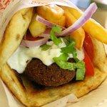Lucky's falafel souvlaki - delicious!!