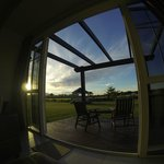 View of sunset from the dining area in cottage