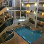 Pool and hot tub inside atrium