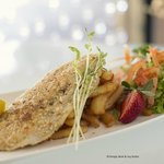 Almond Crumbed Barramundi served with Chips and Salad