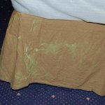 Stains on bedding.